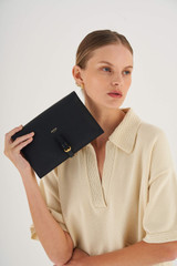 Oroton Dylan Fold Over Crossbody in Black and Pebble Leather for female