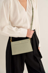 Oroton Elina Chain Crossbody in Shale Grey and Pebble Leather for female