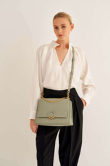 Oroton Elina Satchel in Shale Grey and Pebble Leather for female