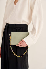 Oroton Elina Chain Wristlet in Shale Grey and Pebble Leather for female