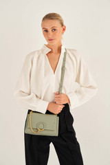 Oroton Elina Small Satchel in Shale Grey and Pebble Leather for female
