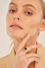 Oroton Brea Ring Stack in Gold/Green and Brass Base Metal With Precious Metal Plating/Semi Precious Stone for female