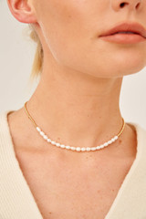 Oroton Corine Necklace in Gold and Brass Base Metal With Precious Metal Plating/Pearl for female
