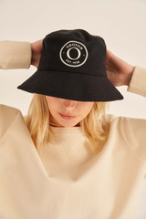 Oroton Kaia Bucket Hat in Black and Non-Coated Canvas for female