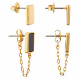 Oroton Brea Chain Stud Set in Gold/Black and Brass Base Metal With Precious Metal Plating/Semi Precious Stone for female