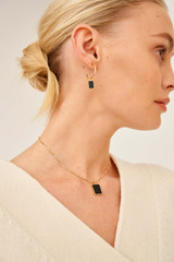 Oroton Brea Necklace in Gold/Black and Brass Base Metal With Precious Metal Plating/Semi Precious Stone for female