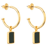 Oroton Brea Hoop in Gold/Green and Brass Base Metal With Precious Metal Plating/Semi Precious Stone for female