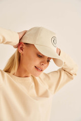 Oroton Kaia Cap in Natural and Non-Coated Canvas for female