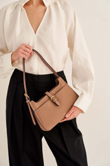 Oroton Dylan Baguette Bag in Tan and Pebble Leather for female