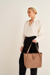 Oroton Dylan Medium Tote in Tan and Pebble Leather for female