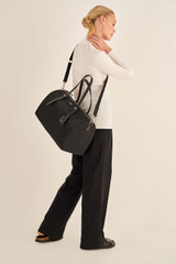 Oroton Elsie Nylon Gym Tote in Black and Nylon And Pebble Leather for female