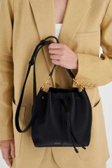 Oroton Lilly Small Bucket Bag in Black and Pebble Leather for female
