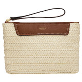 Oroton Claire Medium Pouch in Natural/Cognac and Paper Straw And Pebble Leather for female
