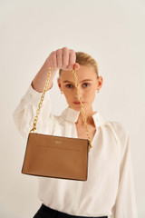 Oroton Elina Chain Wristlet in Tan and Pebble Leather for female