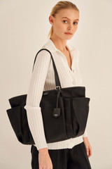 Oroton Elsie Nylon Baby Bag And Mat in Black and Nylon And Pebble Leather for female