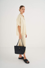Oroton Dylan Small Tote in Black and Pebble Leather for female