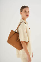 Oroton Dylan Small Tote in Tan and Pebble Leather for female