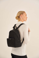 Oroton Elsie Nylon Backpack in Black and Nylon And Pebble Leather for female