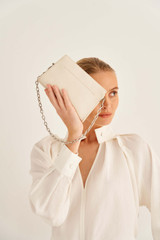 Oroton Elina Chain Wristlet in Milk and Pebble Leather for female
