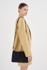 Oroton Tessa Crossbody in Black/Silver and Soft Pebble Leather for female