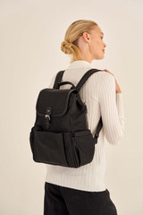 Oroton Elsie Nylon Baby Backpack And Mat in Black and Nylon And Pebble Leather for female