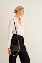 Oroton Elina Chain Crossbody in Black and Pebble Leather for female