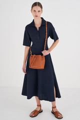 Oroton Lilly Small Bucket Bag in Cognac and Pebble Leather for female