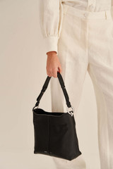 Oroton Tessa Hobo in Black/Silver and Pebble Leather for female