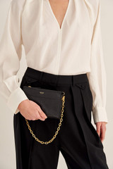 Oroton Elina Chain Wristlet in Black and Pebble Leather for female