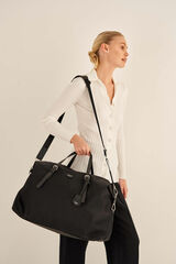 Oroton Elsie Nylon Weekender in Black and Nylon And Pebble Leather for female