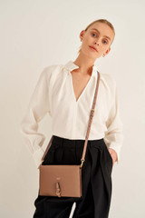 Oroton Dylan Fold Over Crossbody in Tan and Pebble Leather for female
