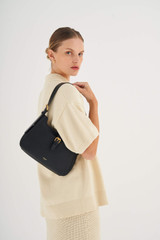 Oroton Dylan Baguette Bag in Black and Pebble Leather for female