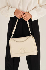 Oroton Elina Satchel in Milk and Pebble Leather for female