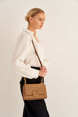 Oroton Elina Small Satchel in Tan and Pebble Leather for female