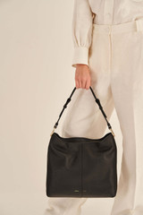 Oroton Tessa Large Hobo in Black and Soft Pebble Leather for female