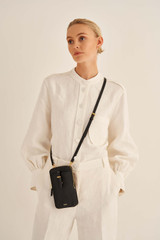 Oroton Dylan Phone Crossbody in Black and Pebble Leather for female