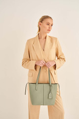 Oroton Lilly Small Shopper Tote in Shale Grey and Pebble Leather for female