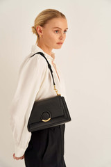 Oroton Elina Small Satchel in Black and Pebble Leather for female