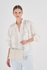 Oroton Tessa Crossbody in Milk and Soft Pebble Leather for female
