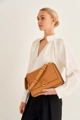 Oroton Elina Satchel in Tan and Pebble Leather for female