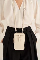 Oroton Dylan Phone Crossbody in Milk and Pebble Leather for female