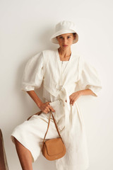 Oroton Belted Culotte in Eggshell and 100% Linen for female