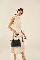Oroton Anna Large Zip Clutch in Denim Blue and Pebble Leather for female