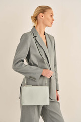 Oroton Anna Large Zip Clutch in Mist Blue and Pebble Leather for female