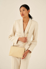 Oroton Anna Large Zip Clutch in Honey and Pebble Leather for female