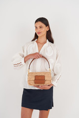 Oroton Alva Collectable Day Bag in Natural/Brandy and Smooth Leather and Crocheted Straw for female