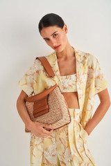 Oroton Alva Collectable Hobo in Natural/Brandy and Smooth Leather and Crocheted Straw for female