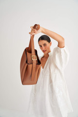 Oroton Ingrid Hobo in Brandy and Smooth Leather for female