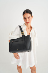 Oroton Ingrid Tote in Black and Pebble Leather for female