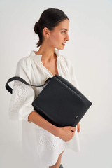 Oroton Ingrid Hobo in Black and Pebble Leather for female